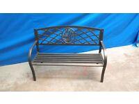 Garden Furniture - Metal Bench With Flower Design