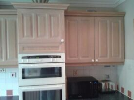 Kitchen Units (used), Limed Oak including gas hob & double sink