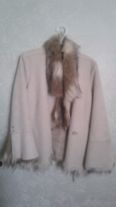 Swede & fur collar coat
