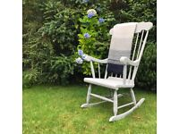 Beautiful Large Rocking Chair. Grey Shabby Chic.