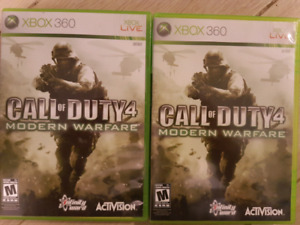 2 copies of Call pf Duty 4: MW for the XBOX 360