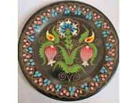 vintage hand painted copper plate