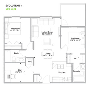 2 beds 2 baths plus a den in Southwest, available on September 1