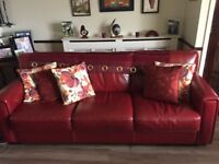 Red Leather Sofas & Footstool with storage