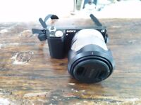Sony NEX-5N 16MP Digital Camera, interchangeable 18-55mm lens, detachable Flash, case, 8GB SD card
