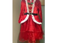Miss Santa Claus Christmas Outfit with hood aged 7-8 Excellent Condition Girl Fancy Dress