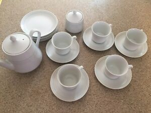 20 piece white tea set with touch of colour ! Made in Japan