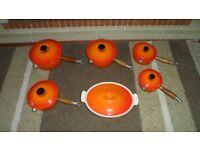 Vintage Le Creuset Orange Full Set of Saucepans & Casserole Dish
