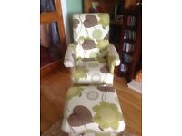 Small chair with footstool , useful in nursery or bedroom
