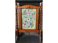 Vintage Oak Embroidered Fire Screen