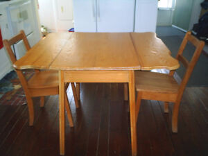 Antique Drop Leaf Table and 3 chairs  2 pics