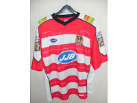 WIGAN WARRIORS TRENT BARRETT SIGNED SHIRT SIZE LARGE