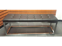 Long dining waiting bench seat Chrome ottoman salon shop
