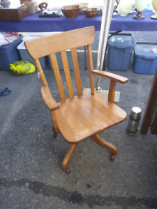 Old Solid Oak Mission Swivel Desk Chair