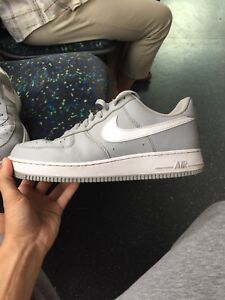 Grey and white Air Force ones