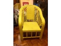 Yellow rattan wicker chair