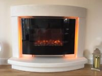 Artisan Bourton Limestone Fireplace & be modern Remote Controlled Rotary Flame Effect Electric Fire