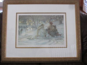 """Framed Limited Edition Print By Trisha Romance """"Evening Skaters"""""""