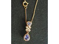 Tanzanite/ Diamond Pendant & 9ct gold chain