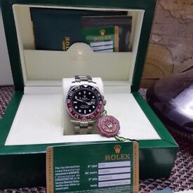 New Boxed black dial black red bezel silver bracelet Rolex GMT Master II Ref: 116710RONR Auto