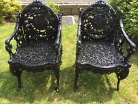 Antique cast iron chairs ( rare )