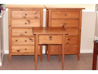 Two Solid Wood Drawers & Matching Side Table in Danish Pine