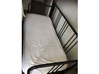 Day-bed frame FYRESDAL Black + one single mattress (slightly used)