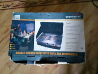 Wynnster double burner camping stove with grill