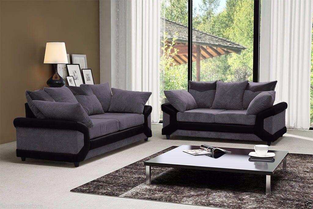 Dino Premium Fabric Sofa in BLACK & GREY/BROWN
