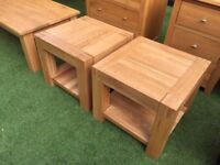 2x Solid oak side tables