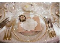 ***GOLD BEADED CHARGER PLATES FOR HIRE***ONLY £1.45 EACH***