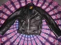 STUNNING BLACK VINTAGE LEATHER BIKER PUNK ROCK JACKET MEN'S