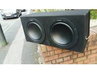 2 x 12 inch vibe subs 1200watt each and come with 1600 watt amp