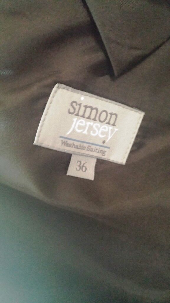 NEW Suit Mens Jacket and Pin Striped Trousers Simon Jersey 36 Machine Washable