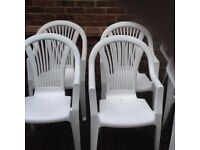 Garden Chairs, white plastic