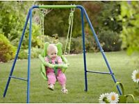 New Small Wonders Toddler Garden Swing with Nursery Booster Seat
