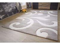 "Modern Rug Ronda Coral Design Rug Brown Soft Non Shedding Pile, Size 160x230 cm (5'3""x7'6"")"