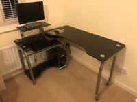 Black Glass Corner Desk - Excellent Condition