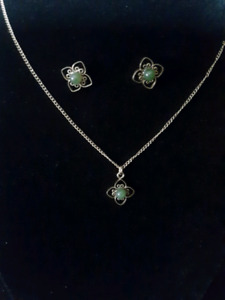 150 year old  jade necklace and earing set