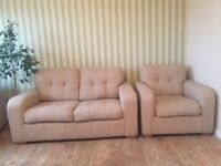 comfortable two seater sofa + 2 armchairs (very good condition)