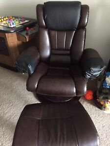 Faux leather chair and stool