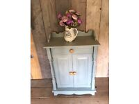 Vintage Shabby Chic Painted Duck Egg Blue Pine Cupboard Sideboard