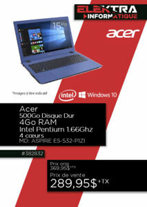 382832...ORDINATEUR PORTABLE ACER..( 500 GO D.D ) ..$289.95