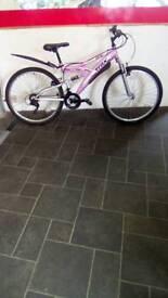 """Pink Dual Suspension Mountain Bike Trak Tfs1, 26"""" Wheels, 18 Speed, 17"""" Frame"""