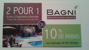 Coupons rabais 2 pour 1 au spa Bagni dans les Laurentides.