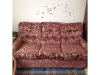 Dark pink patterned double sofa bed