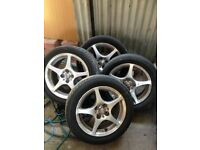 4 original alloy wheels for Toyota MR2 MK3, continental tyres with good tread.