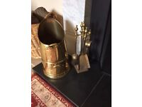 Brass Coal Hod with fireside companion set