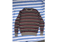 Mens brown, burgundy striped jumper, size medium.