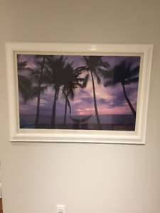 "40"" wide x 281/2 high tropical picture in frame with glass"
